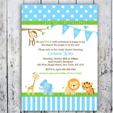 safari baby shower invitations jungle animal theme printable