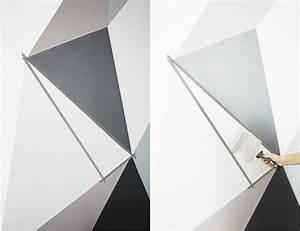 Wandgestaltung Mit Klebeband : muster an der wand mit klebeband kreieren farbe in taupe und grau zuk nftige projekte ~ Markanthonyermac.com Haus und Dekorationen