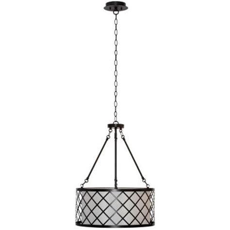 Home Depot Drum Light by Hton Bay 3 Light Rubbed Bronze Metal Overlay