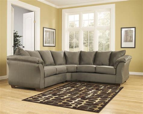 ashley darcy sectional sofa ashley darcy sage green contemporary plush pillow