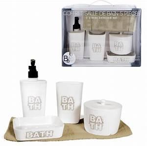 Accessoire Salle De Bain : coffret 5 accessoires salle de bain bath ~ Teatrodelosmanantiales.com Idées de Décoration