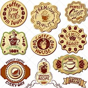 set of coffee labels hand drawn icons of cup by lian With coffee cup labels