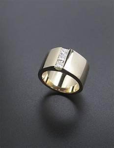 Wide Gold Band Engagement Ring With 3 Small Diamonds Down