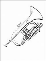 Coloring Instruments Musical Pages Cornet sketch template