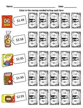 money math worksheets freebie for special education by
