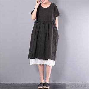 summer black plaid lace patchwork cotton dresses plus size ...