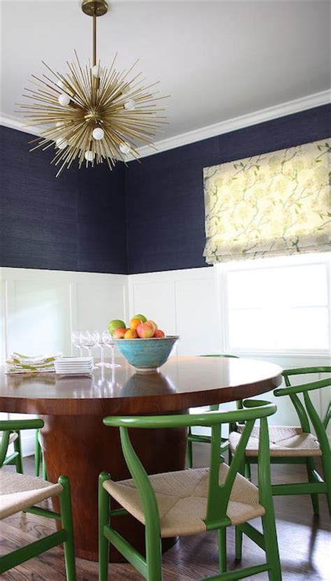 Navy Grasscloth   Contemporary   Dining Room