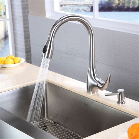 fragranite kitchen sinks faucet khf200 33 in stainless steel by kraus 1051