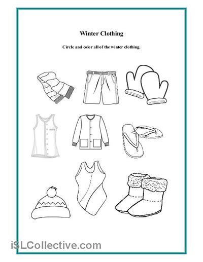 preschool winter clothing worksheet daycare clothing 111 | cb355f57e907eddf4eca07ed563ddef5