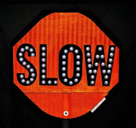 led stop slow paddle sign led held signs for sale trafficsafetywarehouse com