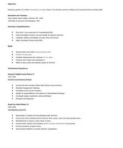 objective for housekeeping resume housekeeping resume objective sle resumes design