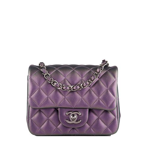 chanel iridescent purple quilted lambskin square mini classic flap bag worlds