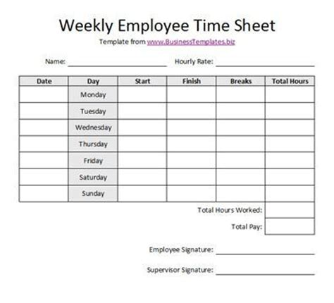 free printable timesheet templates free weekly employee
