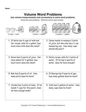 word problems volume worksheets volume word problems