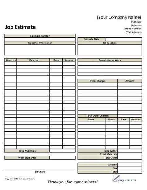 basic job estimate form estimate template construction