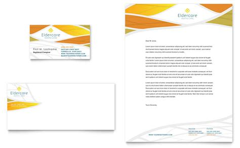 assisted living business card letterhead template design