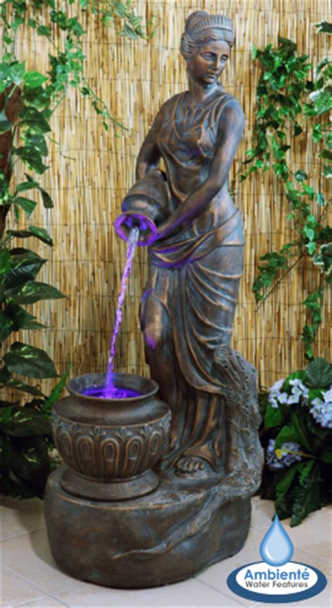 hcm bronze lady liberty water feature lights ambiente