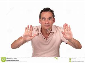 Man Holding Up Hands To Stop Or Push Royalty Free Stock ...