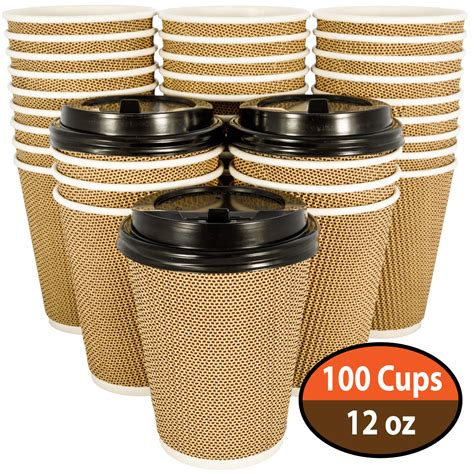 These lids guarantee a safe transport of hot beverages. OzBSP 100 Pack 12 oz Disposable Coffee Cups with Lids - 12oz Paper Coffee Cups Ripple Wall ...
