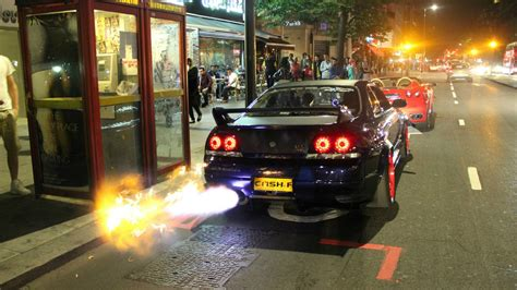 Gtr Shooting Flames Wallpaper by Exhaust Nissan Skyline Gt R Wallpapers And Images
