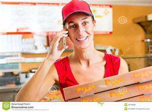 Delivery Service - Woman Holding Pizza Boxes Royalty Free ...