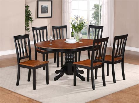 kitchen tables furniture 7 pc oval dinette kitchen dining set table w 6 wood seat