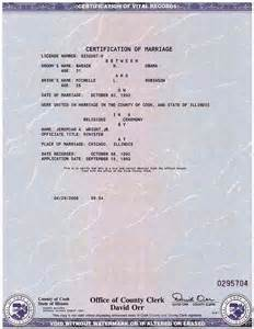 Marriage License Certificate