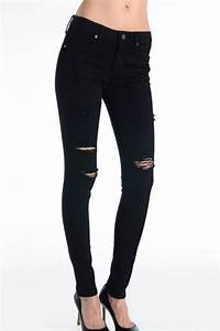 Just black Destroyed Skinny Jeans from Nebraska by Five Arrows Boutique u2014 Shoptiques