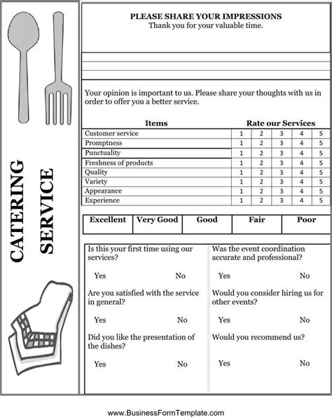 Catering Questionnaire Template by Comment Card Template Free Premium Templates