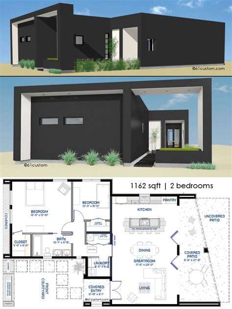 modern two bedroom house plans small front courtyard house plan 61custom modern house 19289 | elevensixtytwo