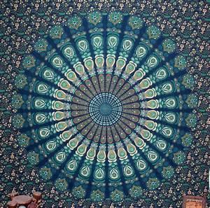 Dark Blue Green tapestry - Peacock Feather Indian Mandala