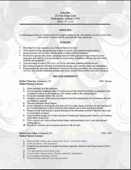 Cover Letter For Optical Assistant by Optical Resume Occupational Exles Sles Free