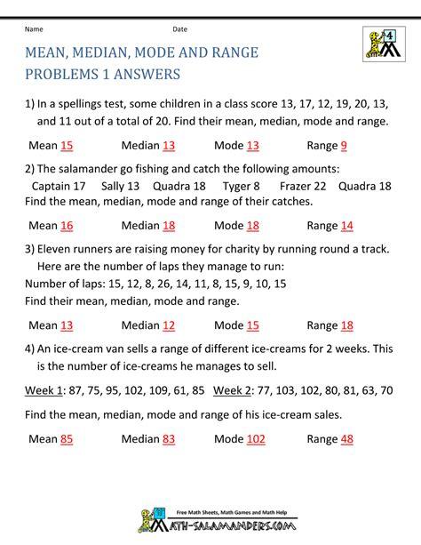 median mode range worksheets