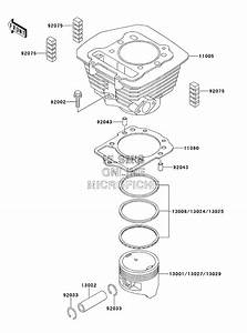 Complete Top End Cylinder Kit For A Kawasaki Klf300a Bayou