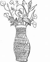 Vase Flower Coloring Bamboo Webbing Sky sketch template