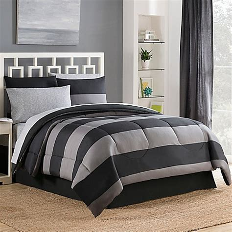 bryce reversible comforter set in black grey bed bath