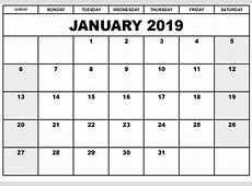Blank Printable Calendar 2019 Templates Printable Shelter