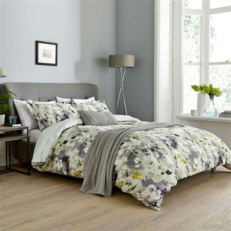 grey duvet cover yellow grey floral bedding sanderson simi at bedeck home