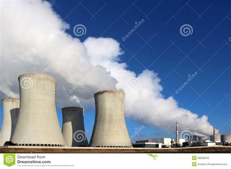 nuclear power plant  huge smoke  cooling towers