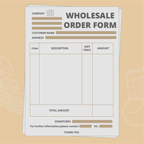 wholesale order form template create
