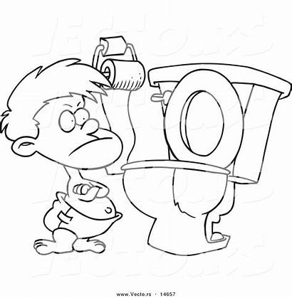 Potty Coloring Cartoon Toilet Training Outline Toddler