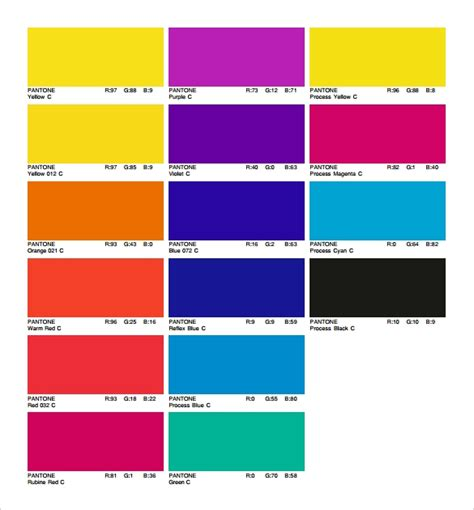 sample rgb color chart templates