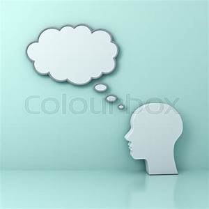 Human Head With Blank Thought Bubble