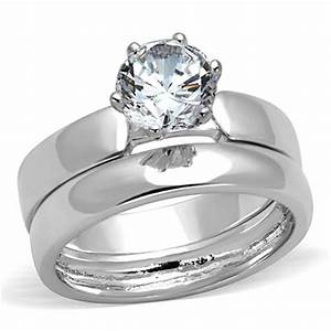 3w805 womens wedding band set engagement ring 2pc plain With plain wedding ring sets