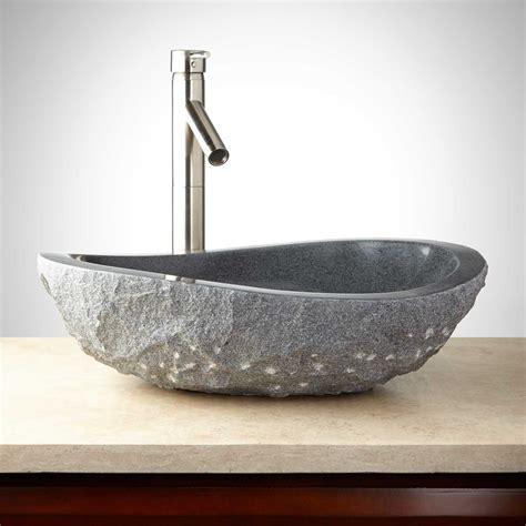 powder room basins granite vessel sink with light granite chiseled exterior