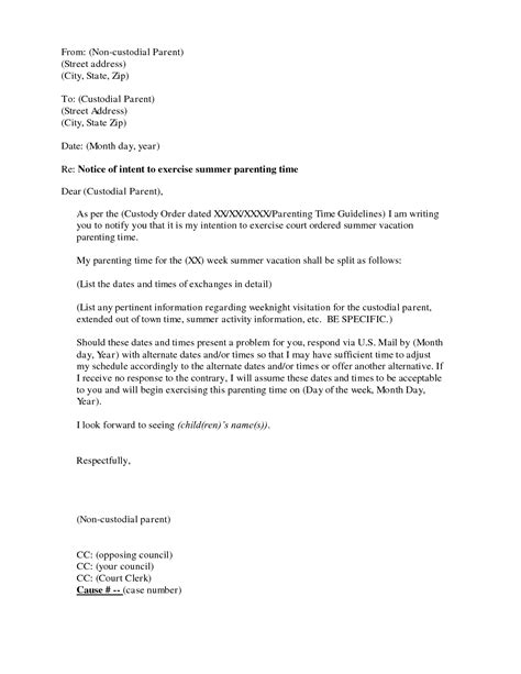 visitation agreement letter  printable documents