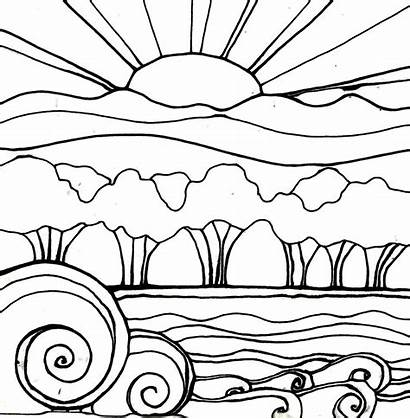 Sunset Coloring Pages Drawing Beach Landscape Sunsets
