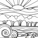 Sunset Coloring Pages Drawing Beach Landscape Sunsets Sun Flowers Drawings Printable Line Doodle Waves Robin Mead Adults Sketch Garden Adult sketch template