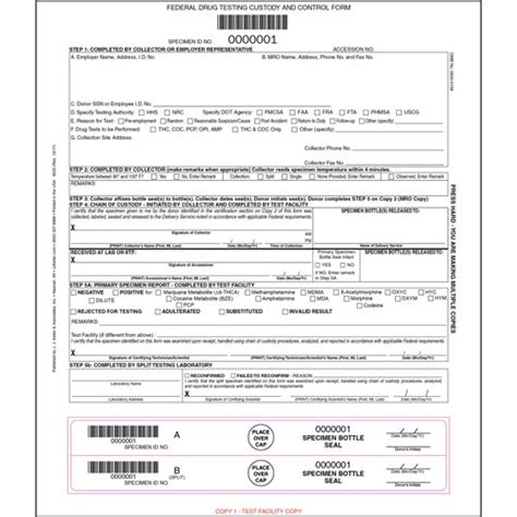 drug test results form federal testing custody and form
