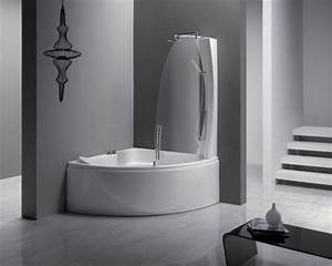 corner small bathtubs with shower and black glass table With small corner table for bathroom